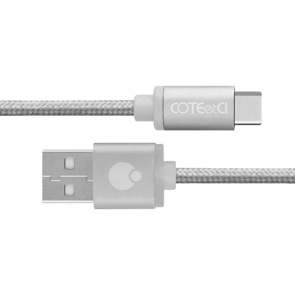 Купить Кабели для телефонов, Кабель COTEetCI M20 TYPE-C Cable Silver (Nylon, 1.2M?(00-00020323)