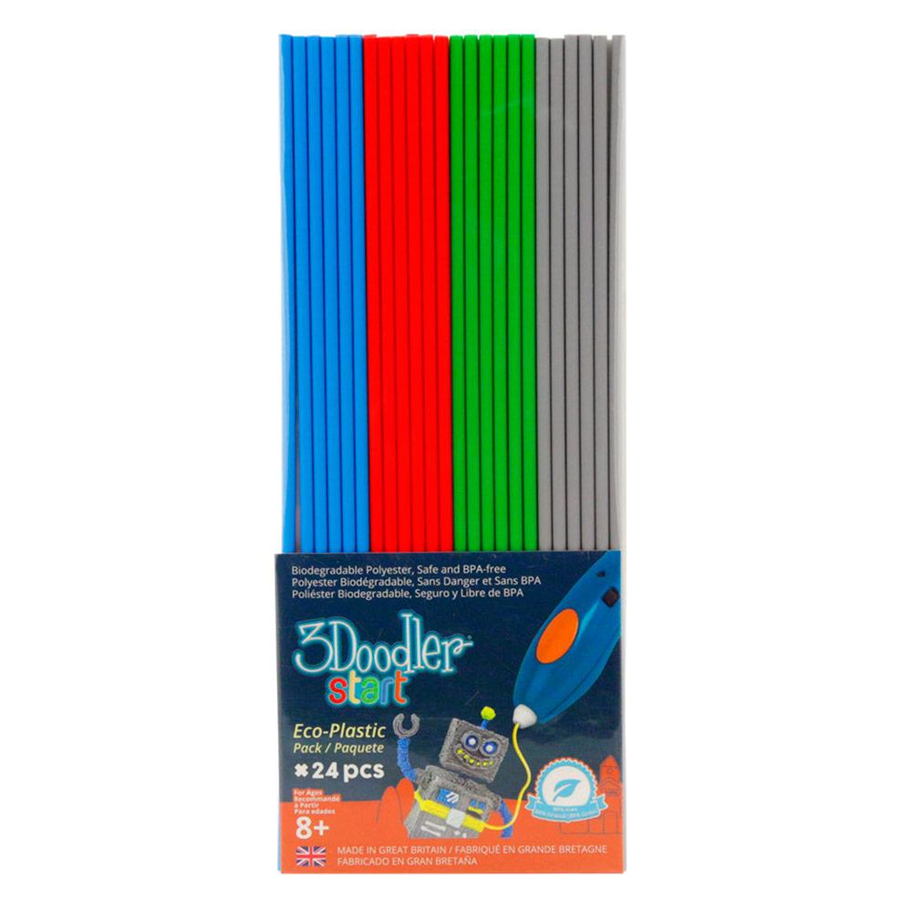 Купить 3D-ручки, Набор Стержней Для 3D-Ручки 3Doodler Start - Микс 24 Шт: Серый, Голубой, Зеленый, Красный (3DS-ECO-MIX2-24), США